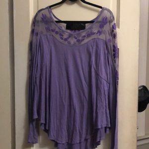 Free People Purple Long Sleeve Blouse